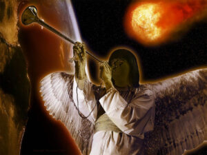 Engel blaast op trompet